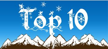 TOP 10 written with snowflakes on blue sky and snowy mountains background. Stock Images