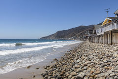 Topanga Beach on the Malibu Coast. Topanga beach and ocean front homes in Malibu near Los Angeles, California Stock Photo