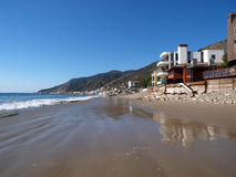 Topanga Homes. Malibu California beach life.  Row of homes along famous Toganga Beach Stock Photography