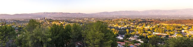 Topanga Overlook Panorama. The Top O` Topanga Overlook with views of the mountains and the San Fernando Valley royalty free stock photo