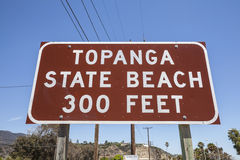 Topanga State Beach Sign in Malibu California Stock Images