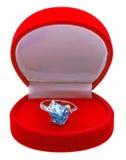 topaz серебра кольца коробки красный Стоковые Фотографии RF
