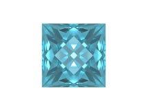 Topaz azul. Forma cuadrada. Imágenes de archivo libres de regalías
