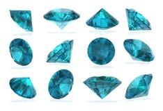 Topaz blues Diamond set on White Background Royalty Free Stock Images