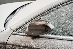 Topaz Brown Metallic color car snow Royalty Free Stock Image