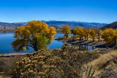 Topaz Lake in autumn season stock photography