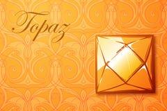 Topazowy gemstone na deseniowym tle Fotografia Stock