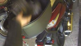 Topcase motorcycle. stock footage