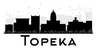 Topeka City skyline black and white silhouette. Royalty Free Stock Photos