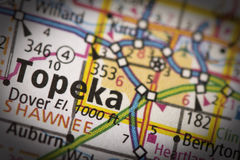 Topeka, Kansas on map. Closeup of Topeka, Kansas on a road map of the United States Stock Photography