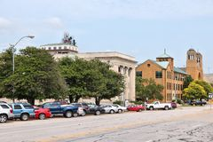 Topeka, Kansas. TOPEKA, USA - JUNE 25, 2013: People visit downtown Topeka, Kansas, United States. Topeka is the capital city of the State of Kansas and is the Stock Photo