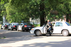 Topeka Police officer arriving on scene Stock Images