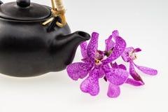 Topf des schwarzen Tees mit rosa mokara Orchideen lokalisiert auf weißem backgro Lizenzfreie Stockbilder