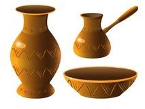 Topf Ein Satz Tonwaren Vase, Schüssel, türkische Kaffeemaschine Ethnische Keramik mit Verzierung Tonwaren stock abbildung