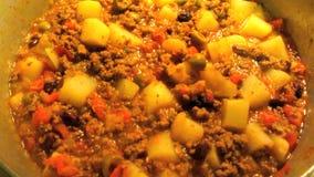Topf Picadillo-Mexikaner-Lebensmittel stock footage