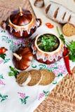 Topf Suppenkartoffel und -petersilie auf dem Tisch Lizenzfreie Stockfotos