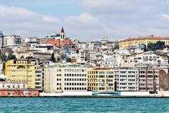 Tophane Coast, Istanbul. Tophane Coast with St Anton Church in Istanbul Royalty Free Stock Image