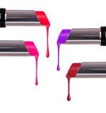 Topić barwione pomadki z kapinosami na bielu zdjęcia stock