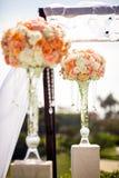 Topiary Decor van de huwelijksceremonie Stock Foto