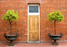 Topiary fruit trees. Topiary fruit trees in urns decorating the doorway to an old building royalty free stock photos
