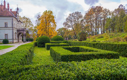 Topiary garden at autumn. Shenborn castle and english garden around it Stock Image