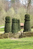 Topiary Garden, Hessenpark Germany. Portrait of shaped trees in the form of chess pawn, Hessenpark, the Open Air Museum in Germany Royalty Free Stock Images