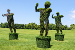 Topiary Garden Sculpture made of grass - man figure. Eco and nature concept. Royalty Free Stock Photos