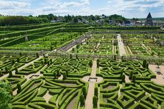 Topiary and kitchen garden in Villandry castle Royalty Free Stock Photos