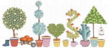 Topiary krajobraz zasadza inkasowego wektor, set z drzewami ilustracji