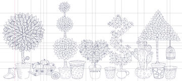 Topiary-Landschaft pflanzt Sammlungsvektor, Satz mit Bäumen Stockfotos