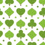 Topiary seamless pattern. Four suits shapes of bushes: heart, spade, club, diamond. Green color. Shrub background. Wrapping seamless pattern for Casino game Stock Photography