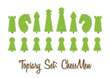 Topiary set of all chessmen shapes of bushes and trees: king, queen, pawn, bishop, rook, knight. Green chess figure. Landscape gardening, park, game. Vector Royalty Free Stock Image