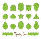 Topiary set. Different basic shape of bushes, trees. Green multiform shrubs. Heart drop circle egg star shrub. Landscape design, gardening, park, game. Simple Stock Photos