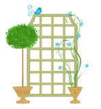 Topiary With Trellis and Blue Bird Royalty Free Stock Photography