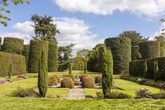 Topiary walled garden as part of large park at the Arley Hall in Cheshire, UK.