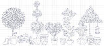 Topiarylandskapet planterar samlingsvektorn, uppsättning med träd Arkivfoton