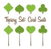 Topiarysatz von vier Spielkarten des Vektors entspricht Formen von Büschen und von Bäumen: Herz, Spaten, Club, Diamant lizenzfreie abbildung