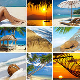 Topic. Summertime theme photo collage composed of few images Stock Images
