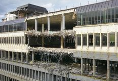 Destruction of an office building. Topic destruction, teardown of an office building Stock Image