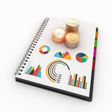 The topic of economics and finance. Spiral notebook on the topic of economics and finance Stock Photos