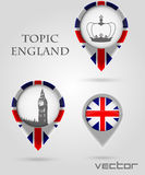 Topic England Map Marker Royalty Free Stock Images