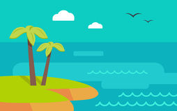 Topic Island Banner. Hot Summer Weekend. Vector Stock Photo