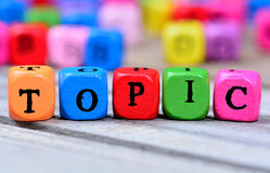 Topic word on table Stock Images