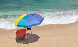 Topical beach with umbrella Royalty Free Stock Photography