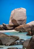 Topical Beach With Unusual Rock Formations. The unique Anse Marron beach Stock Images