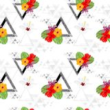 Topical Botany Hibiscus flower and Monstera leaf seamless pattern chic fashion design with triangle Geometry texture design. With white background Stock Photos