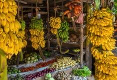 Topical market with variety fruit as bananas, papaya Royalty Free Stock Photo