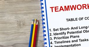 Topics on a coversheet of a lecture about teamwork. Royalty Free Stock Images