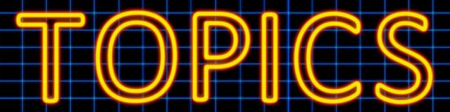 Topics neon sign. Abstract 3d rendered words topics yellow neon sign on blue wire background Stock Photo