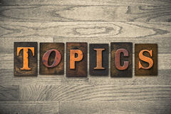 Topics Wooden Letterpress Theme Royalty Free Stock Images